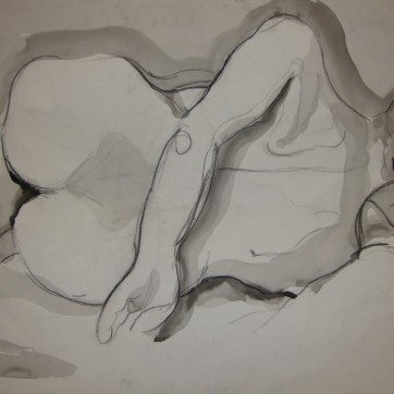 """""""Nude"""" Pen and Ink by Louise Garman Manchester Artist"""