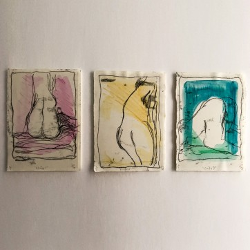 """Life Drawings"" Monoprint by Louise Garman Manchester Artist"