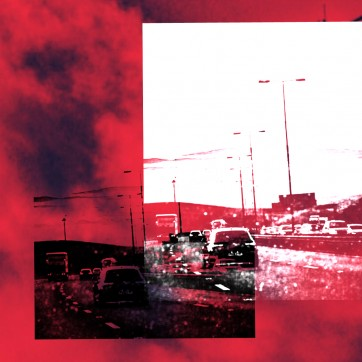 """""""Traffic over Saddleworth Moor"""" Layered Photograph by Louise Garman Manchester Artist"""
