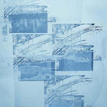 """Traffic over Saddleworth Moor Blue"" Silkscreen by Louise Garman Manchester Artist"